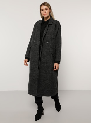 Anthracite - Fully Lined - Wool Blend - Plus Size Overcoat - Alia