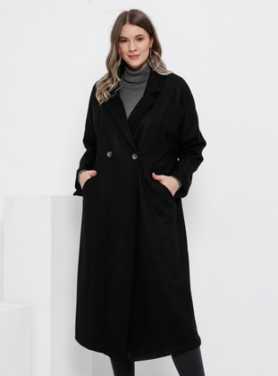 Black - Fully Lined - Wool Blend - Plus Size Overcoat