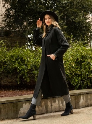 Black - Fully Lined - Wool Blend - Plus Size Overcoat - Alia