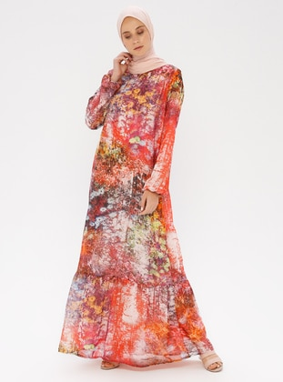 Coral - Floral - Crew neck - Fully Lined - Dress