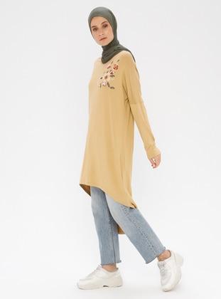 Mustard - Floral - Crew neck - Viscose - Tunic