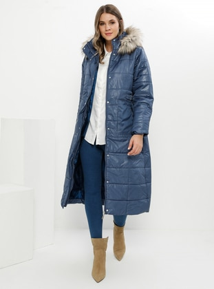 Indigo - Blue - Fully Lined - Plus Size Overcoat - Alia
