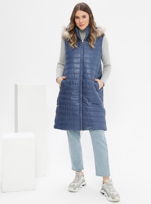 Indigo - Blue - Polo neck - Plus Size Vest