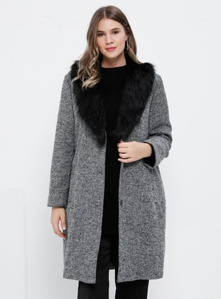 Gray - Fully Lined - V neck Collar -  - Plus Size Coat - Alia