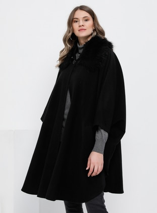 Black - Point Collar - Acrylic -  - Plus Size Poncho