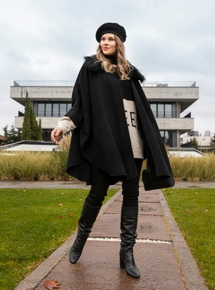 Black - Point Collar - Acrylic -  - Plus Size Poncho - Alia