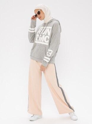 Cream - Stripe - Viscose - Pants