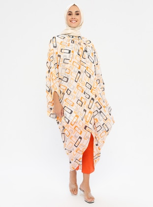 Orange - Multi - Crew neck - Tunic