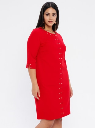 Red - Unlined - Crew neck - Plus Size Dress