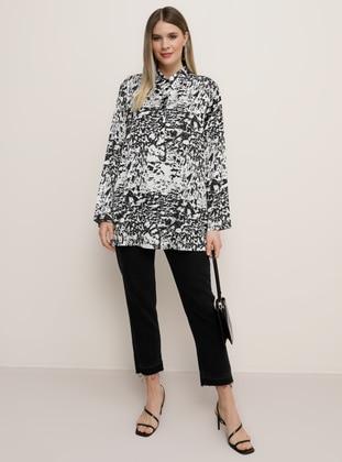 White - Ecru - Black - Multi - Point Collar - Plus Size Tunic