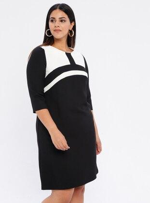 White - Black - Unlined - Crew neck - Plus Size Dress