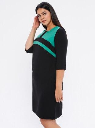 Black - Green - Unlined - Crew neck - Plus Size Dress