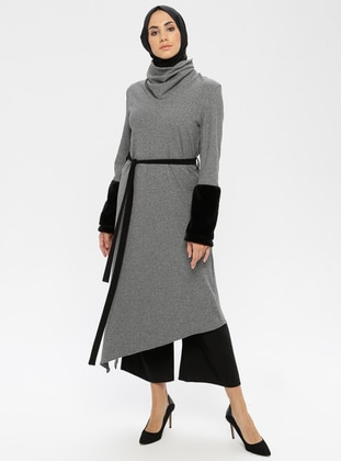 Gray - Polo neck - Unlined - Viscose - Dress