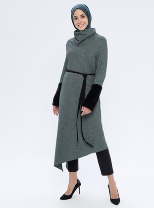 Green - Polo neck - Unlined - Viscose - Dress