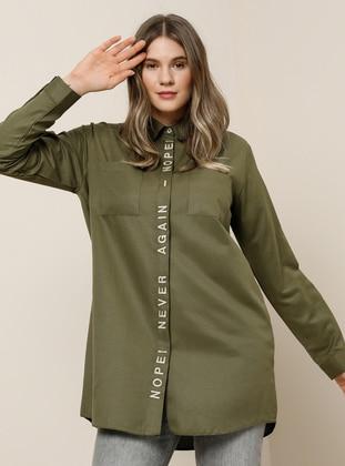 Khaki - Point Collar -  - Plus Size Tunic