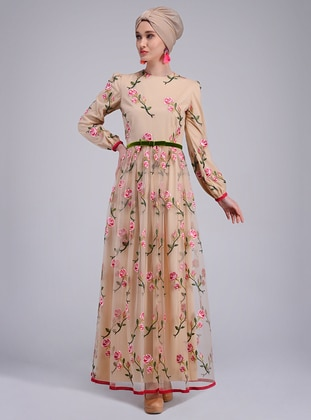 Fuchsia - Nude - Unlined - Crew neck - Muslim Evening Dress