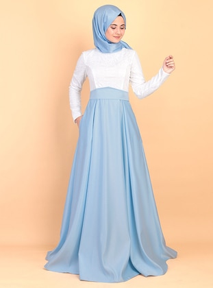 Blue - Fully Lined - Crew neck - Satin - Muslim Evening Dress