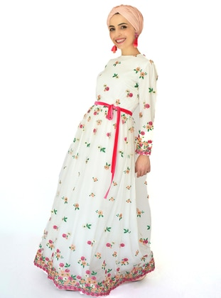 Fuchsia - Salmon - Floral - Fully Lined - Crew neck - Muslim Evening Dress