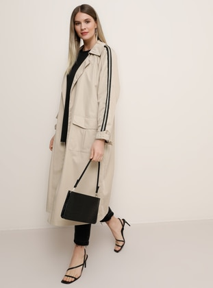 Stone - Unlined - Shawl Collar - Plus Size Coat - Alia