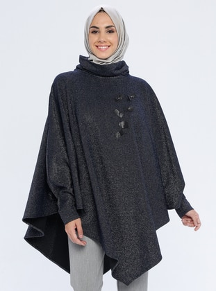 Navy Blue - Polo neck - Unlined -  Metal Thread -  - Poncho