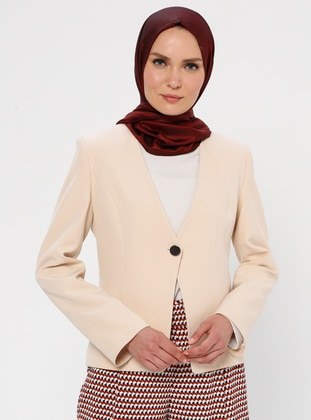 Cream - Fully Lined - V neck Collar - Jacket