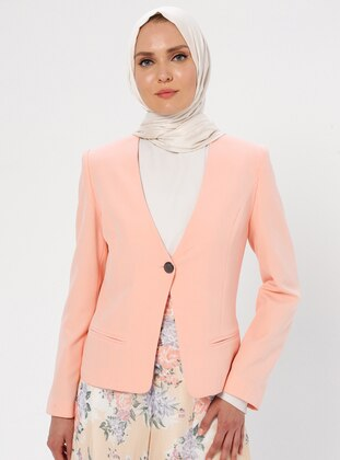 Salmon - Fully Lined - V neck Collar - Jacket