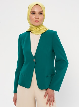 Green - Emerald - Fully Lined - V neck Collar - Jacket