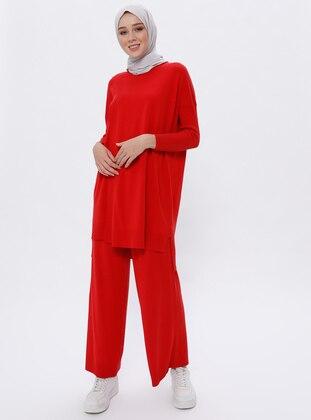 Red - Acrylic -  - Viscose - Pants