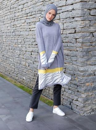 Gray - Zebra - Crew neck -  -  - Tunic