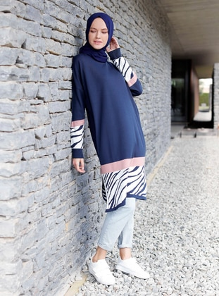 Navy Blue - Zebra - Crew neck -  -  - Tunic