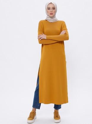 Mustard - Crew neck - Unlined - Acrylic -  - Viscose - Dress