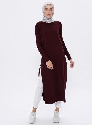 Plum - Crew neck - Unlined - Acrylic -  - Viscose - Dress