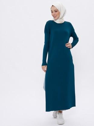 Petrol - Crew neck - Unlined - Acrylic -  - Viscose - Dress