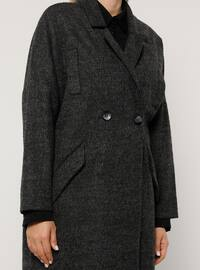 Anthracite - Fully Lined - Wool Blend - Plus Size Overcoat