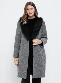 Gray - Fully Lined - V neck Collar - - Plus Size Coat