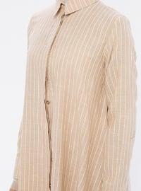 Beige - Stripe - Point Collar -  - Tunic
