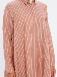 Terra Cotta - Stripe - Point Collar -  - Tunic