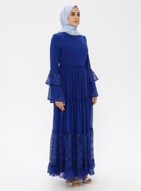 Lacivert - Yuvarlak yakalı - Kısmen astarlı kumaş - Elbise