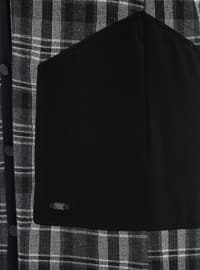 Khaki - Checkered - Point Collar - Metal Thread - Viscose - Tunic