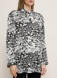 White - Ecru - Black - Multi - Point Collar - Plus Size Tunic