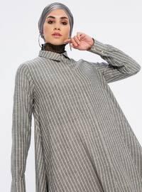 Anthracite - Stripe - Point Collar -  - Tunic