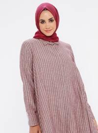 Purple - Stripe - Point Collar -  - Tunic
