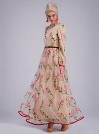 Fuchsia - Nude - Unlined - Crew neck - Muslim Evening Dress