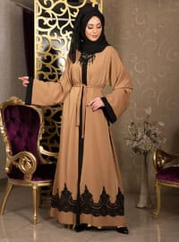 Yellow - Unlined - V neck Collar - Abaya
