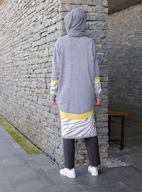 Gray - Zebra - Crew neck -  -  - Tunic