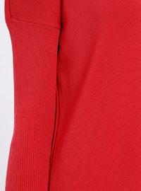 Red - Crew neck - Unlined - Acrylic -  - Viscose - Dress