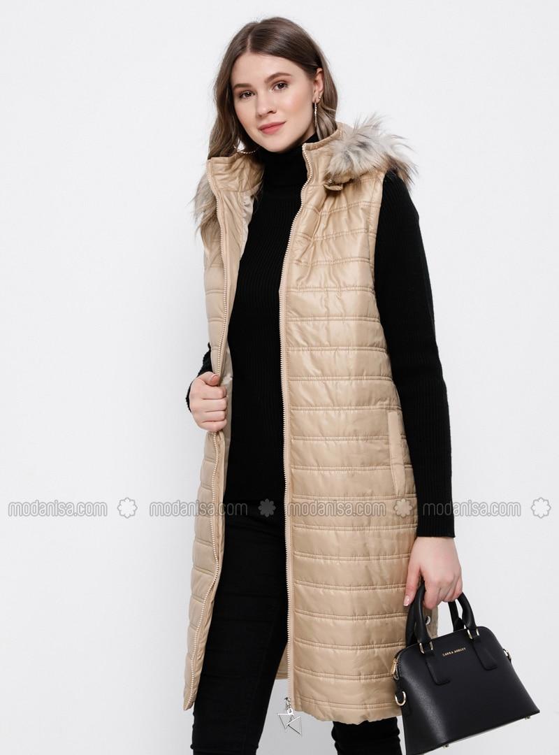 Beige - Polo neck - Plus Size Vest