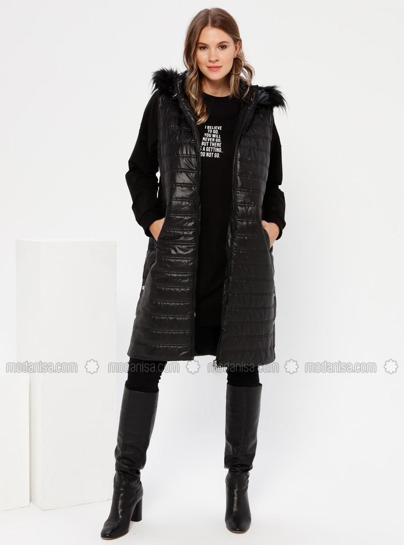 Black - Polo neck - Plus Size Vest