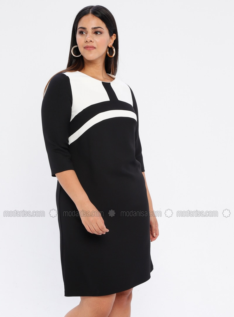 White - Black - Unlined - Crew neck - Plus Size Dress