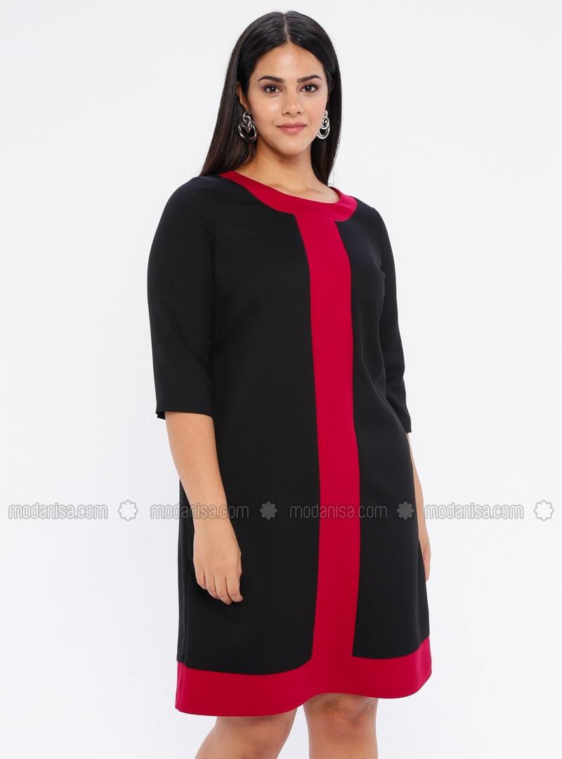 Fuchsia - Black - Unlined - Crew neck - Plus Size Dress